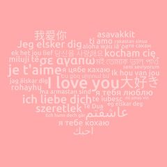 I love you in different language. Words heart on rose background. Vector illustration
