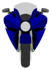 Color classic sport racing motorcycle front view isolated on white vector illustration