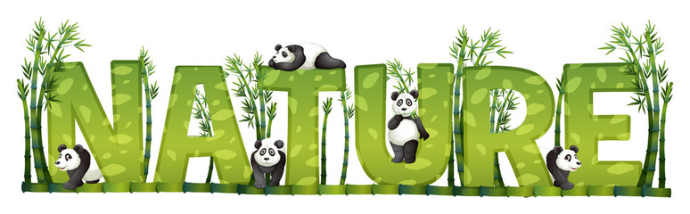 Font design for nature with panda and bamboo
