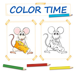 Coloring template with cute mouse