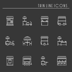 Street food retail thin line icons set. Food truck, kiosk, trolley, wheel market stall, mobile cafe, shop, tent, trade cart. Vector style linear icons. Isolated illustration. Symbols. Black and white