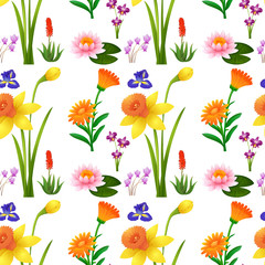 Seamless background design with wild flowers