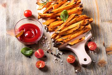 Healthy homemade sweet potato fries, vegan food, vegetarian snac