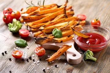 Healthy homemade sweet potato fries, vegan food