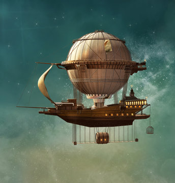 Steampunk fantasy airship