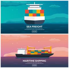 Sea transportation logistic. Sea Freight. Maritime shipping. Merchant Marine. Cargo ship. Vector flat illustration.