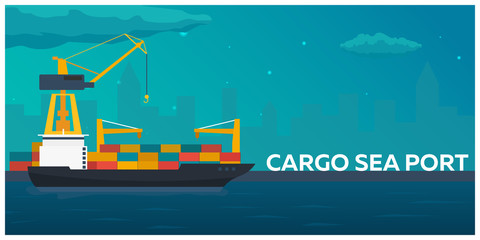 Sea transportation logistic. Sea Freight. Maritime shipping. Merchant Marine. Cargo ship. Vector flat illustration.