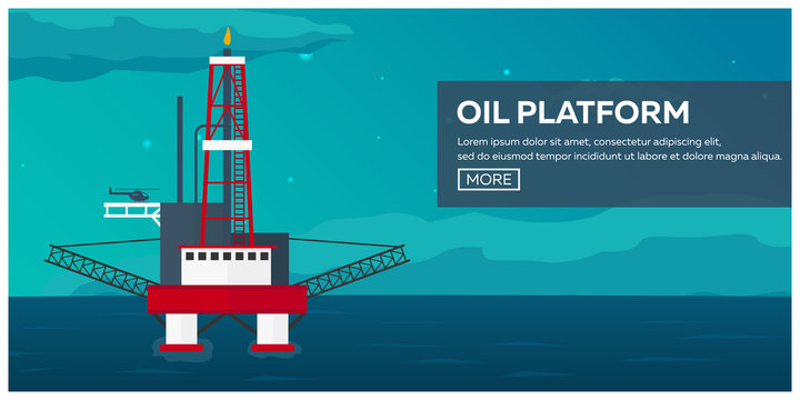 Oil Platform. Sea. Oil exploration. Vector flat illustration.