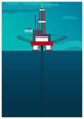 Oil Platform Poster. Sea. Oil exploration. Vector flat illustration.