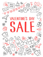 Valentine's Day sale set. Symbols of love: heart shapes, gift boxes, photos, love letters. Hand-drawn line vector illustration and lettering.