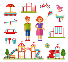 Flat design vector illustration set of playground and attractions elements for infographic design. Swings, slides and tube, carousel, sandpit and sandbox, ball, teeter board, smiling boy and girl.