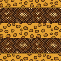 leopard and snake skin seamless pattern