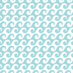 Retro Seamless Pattern Waves Turquoise