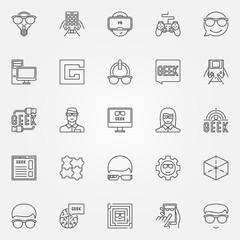 Geek icons set