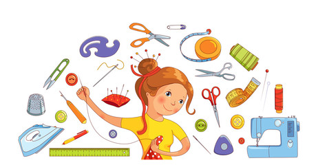 Seamstress girl and sewing tools vector concept