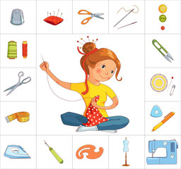 Seamstress girl and sewing tools, line vector