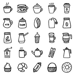 25 outline hand drawn icon Coffee, tea and sweets. Set of vector symbols from cafe