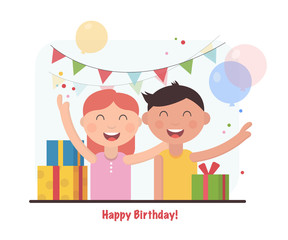 Birthday party for happy kids. Patry cartoon vector illustration