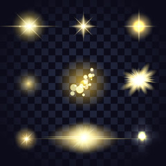 Gold light star lens flare, bokeh, particles different shapes on transparent background, vector editable template for web, sites, design.