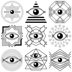 Magic eyes. Set of abstract geometrical compositions.