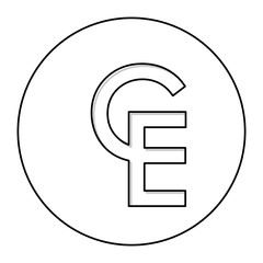 monochrome contour with currency symbol of european currency unit in circle vector illustration