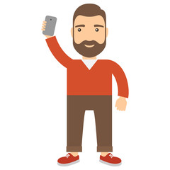 Man with smartphone makes selfie.