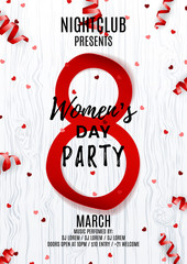 Flyer for Women's Day party. Top view on red paper eight, confetti and serpentine. Vector illustration with wooden texture. Invitation to nightclub.
