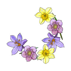 Half frame of spring flowers, decoration element, sketch vector illustration isolated on white background. Hand drawn realistic early spring flowers as half round frame, banner, label design