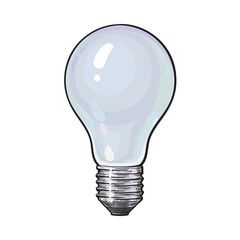 Matted, opaque tungsten light bulb, side view, sketch style vector illustration isolated on white background. Realistic hand drawing of matted, opaque, nontransparent tungsten light bulb