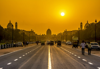 Wall Mural - Sunset behind the Rashtrapati Bhavan, Presidential Residence, New Delhi, India.