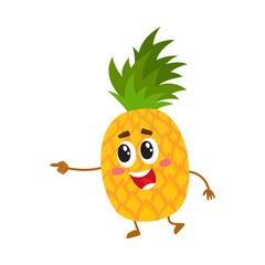 Cute and funny pineapple character with happy face pointing to the left, cartoon vector illustration isolated on white background. Funny pineapple character, mascot pointing to something