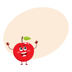 Cure and funny red apple character, mascot, decoration element, cartoon vector illustration with place for text. Red apple funny character, concept of health care for kids