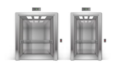 Vector Set of Realistic Open Chrome Metal Office Building Elevator Isolated on Background