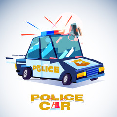 policecar with typographic design - vector