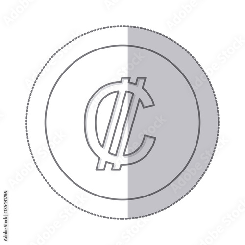 Middle Shadow Monochrome Circle With Currency Symbol Of Colon Costa