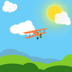 Vector drawing of orange vintage plane with propeller