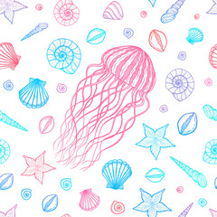 Seamless pattern with jellyfish and shells in line art style. Hand drawn vector