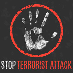 Vector illustration. Social problems. Stop terrorist attack.