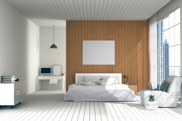3D rendering : illustration of big spacious bedroom in soft light color.big comfortable double bed in elegant classic modern bedroom.interior design of house.modern wooden tile house