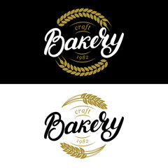 Set of Bakery hand written lettering logo, label, badge, emblem.