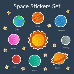 Space stickers set. Flat style. Vector illustartion