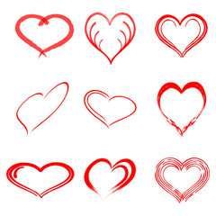 Vector hand drawn heart set with different tools like brushes, chalk, ink.
