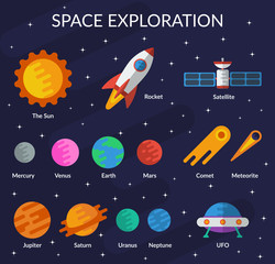 Space collection for you design. Planets, the sun, comet, meteorite, rocket, ufo, satellite Vector set in flat style