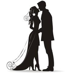 Vector Brautpaar in schwarz