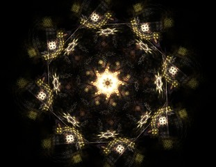 Particles of abstract fractal forms on the subject of nuclear physics science and graphic design. Geometry sacred futuristic