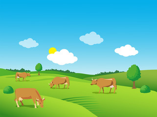Green Meadow Growers. Green Meadow Farm. Landscape With Green Meadow And Cows. Beautiful Valley. Background For Label, Sticker, Print, Packing, Web. Green Meadow Under Blue Sky.