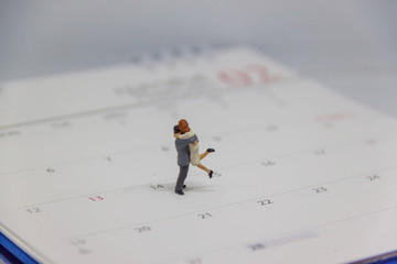 miniature couple embracing each other ,Image of Valentine's Day
