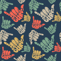seamless pattern surfing hand sign