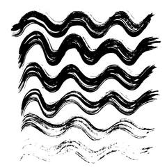 Black ink vector brush strokes. Vector illustration. Grunge wave texture.