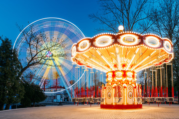Illuminated Attraction Ferris Wheel And Carousel Merry-go-round